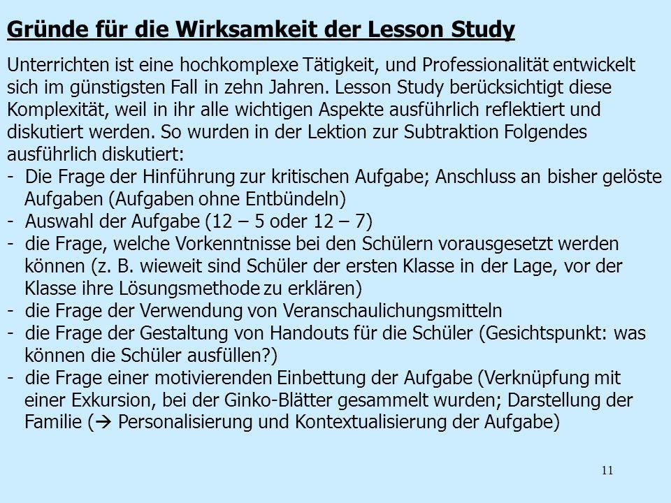 Gründe für die Wirksamkeit der Lesson Study