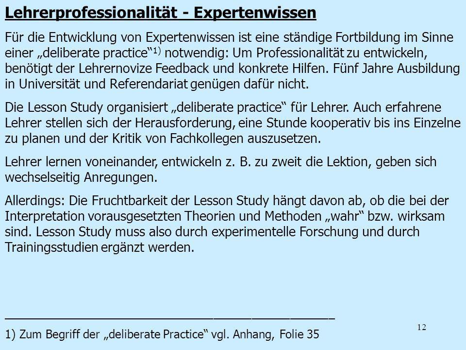 Lehrerprofessionalität - Expertenwissen