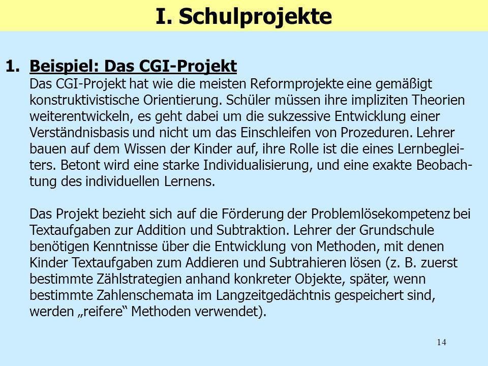 I. Schulprojekte