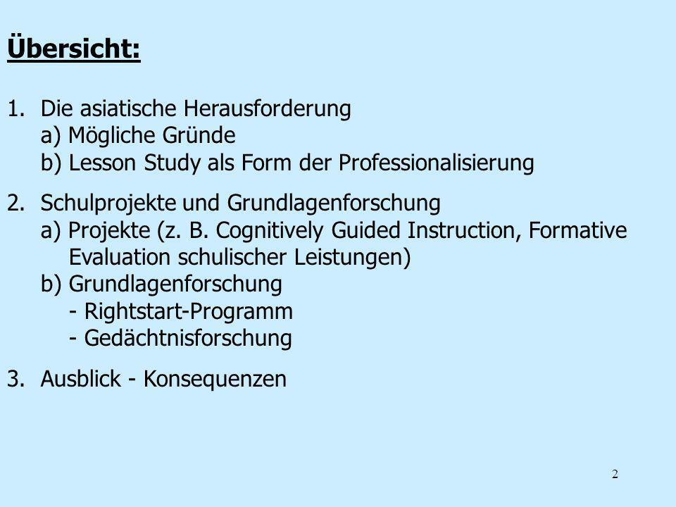 Übersicht: Die asiatische Herausforderung a) Mögliche Gründe b) Lesson Study als Form der Professionalisierung.