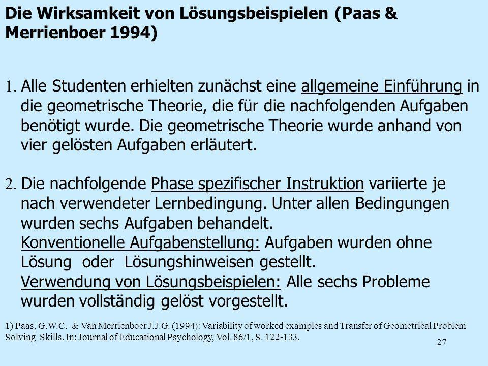 Die Wirksamkeit von Lösungsbeispielen (Paas & Merrienboer 1994)