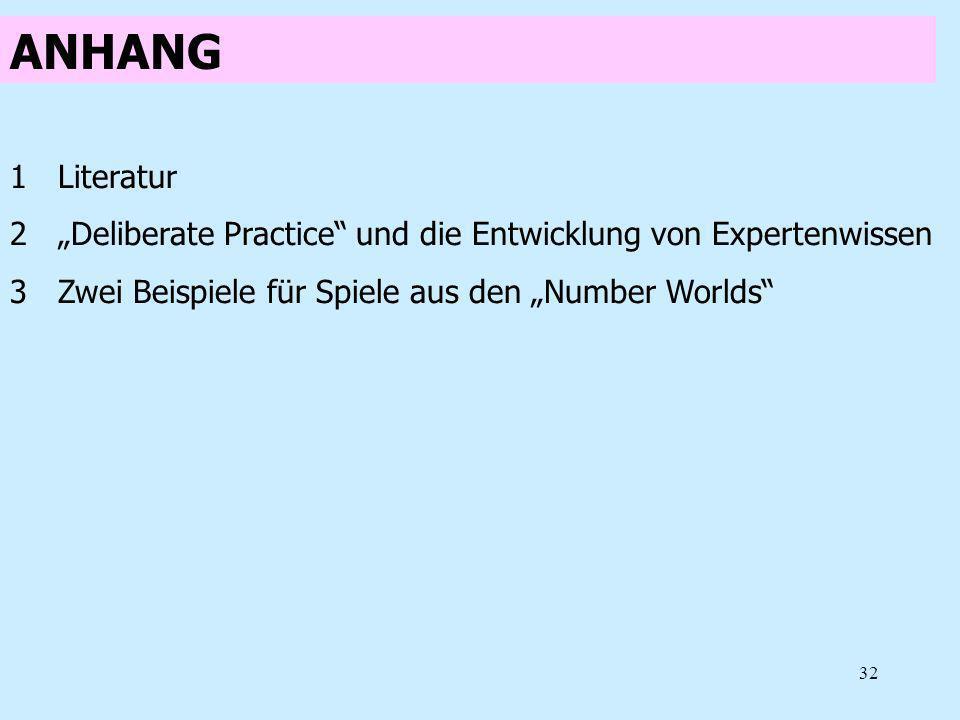 """ANHANG Literatur. """"Deliberate Practice und die Entwicklung von Expertenwissen."""