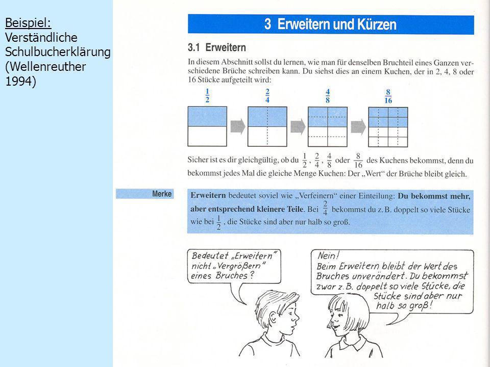 Beispiel: Verständliche Schulbucherklärung (Wellenreuther 1994)