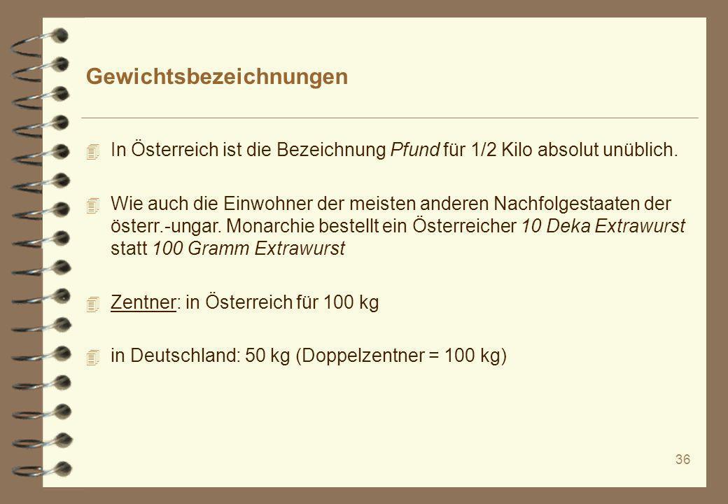 Gewichtsbezeichnungen