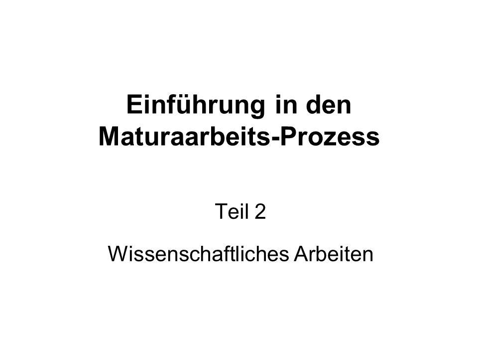 Einführung in den Maturaarbeits-Prozess