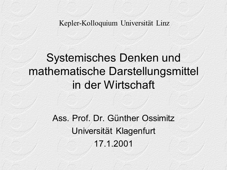 Ass. Prof. Dr. Günther Ossimitz Universität Klagenfurt 17.1.2001