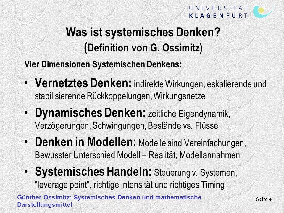 Was ist systemisches Denken (Definition von G. Ossimitz)