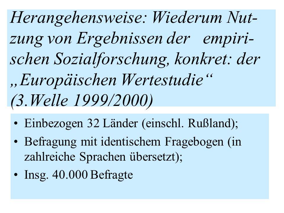 """Herangehensweise: Wiederum Nut-zung von Ergebnissen der empiri-schen Sozialforschung, konkret: der """"Europäischen Wertestudie (3.Welle 1999/2000)"""