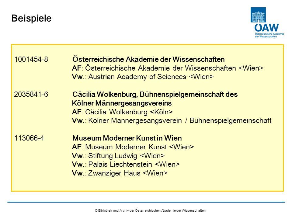 Beispiele 1001454-8 Österreichische Akademie der Wissenschaften