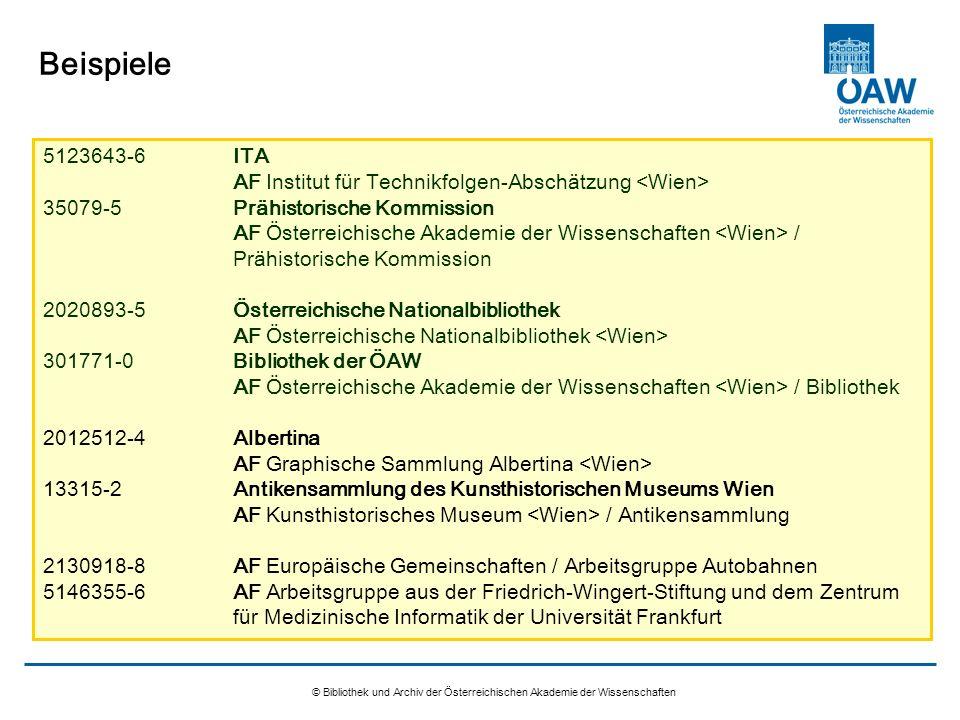 Beispiele 5123643-6 ITA AF Institut für Technikfolgen-Abschätzung <Wien>