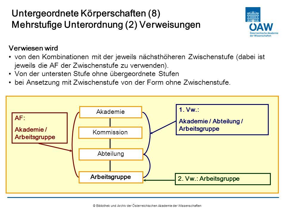 Untergeordnete Körperschaften (8) Mehrstufige Unterordnung (2) Verweisungen