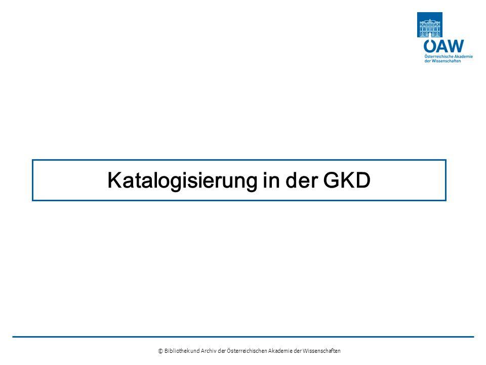 Katalogisierung in der GKD