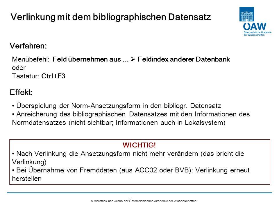 Verlinkung mit dem bibliographischen Datensatz