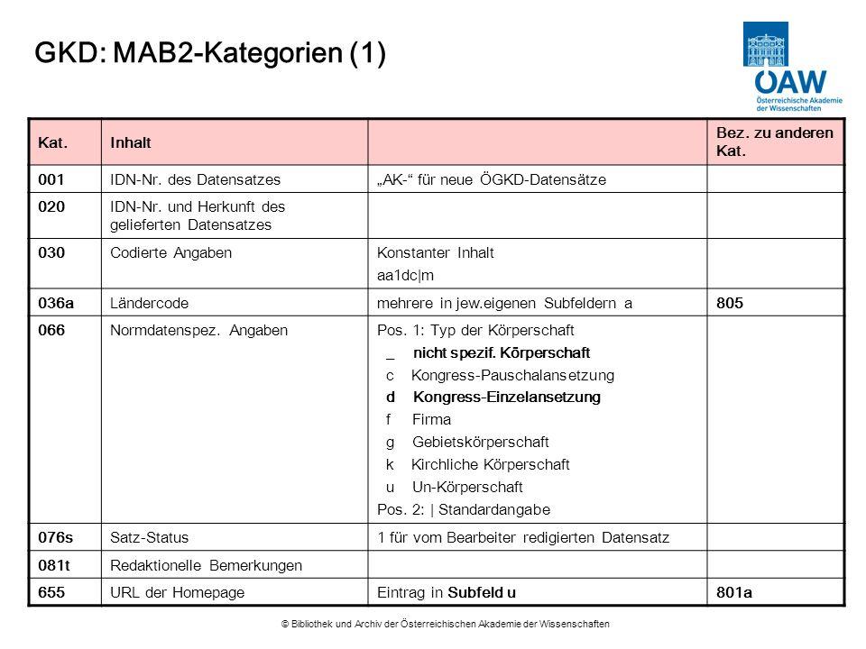 GKD: MAB2-Kategorien (1)
