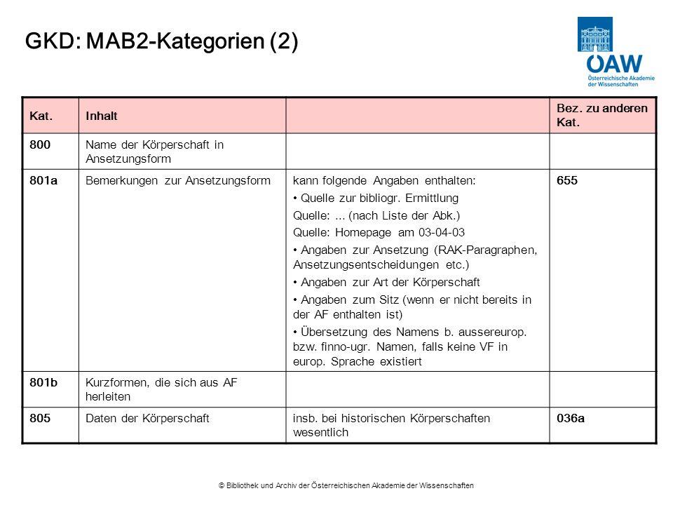 GKD: MAB2-Kategorien (2)