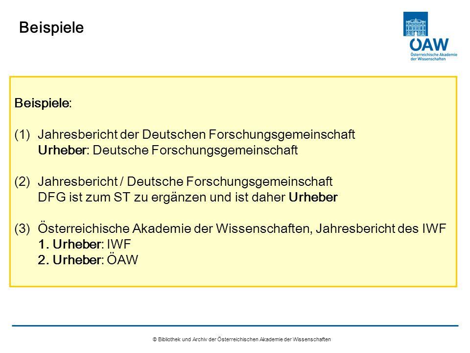 Beispiele Beispiele: Jahresbericht der Deutschen Forschungsgemeinschaft. Urheber: Deutsche Forschungsgemeinschaft.
