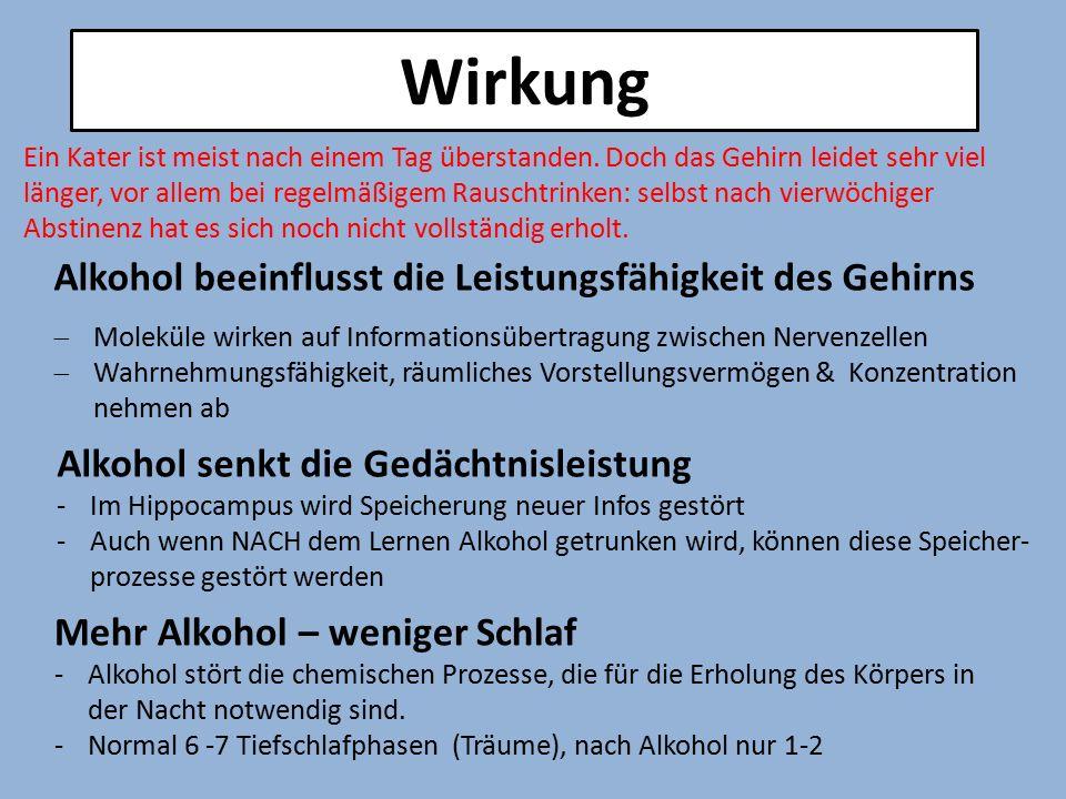 Wirkung Alkohol beeinflusst die Leistungsfähigkeit des Gehirns