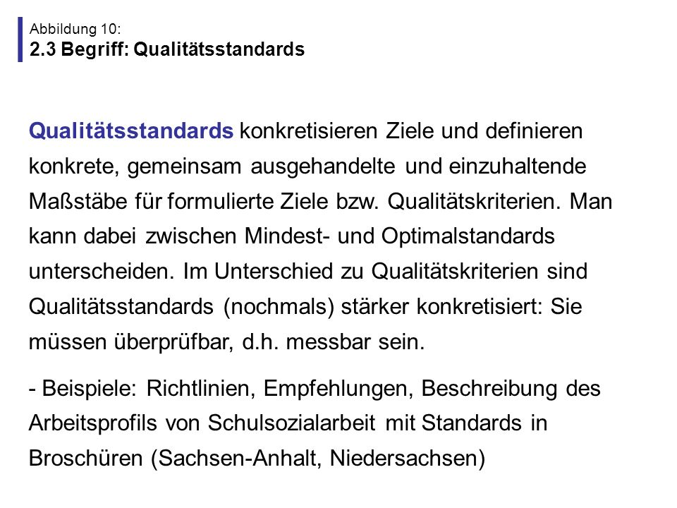 Abbildung 10: 2.3 Begriff: Qualitätsstandards