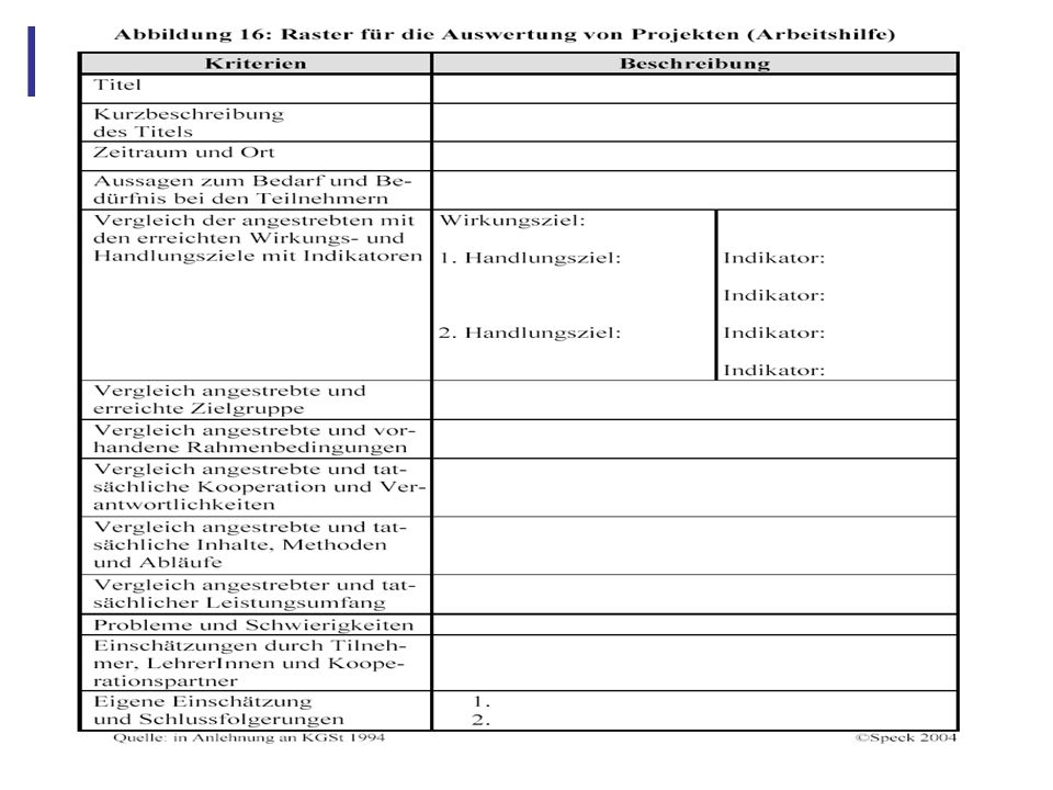 Abbildung 27: 4.6 Instrument II Raster für die Planung und Auswertung von Projekten