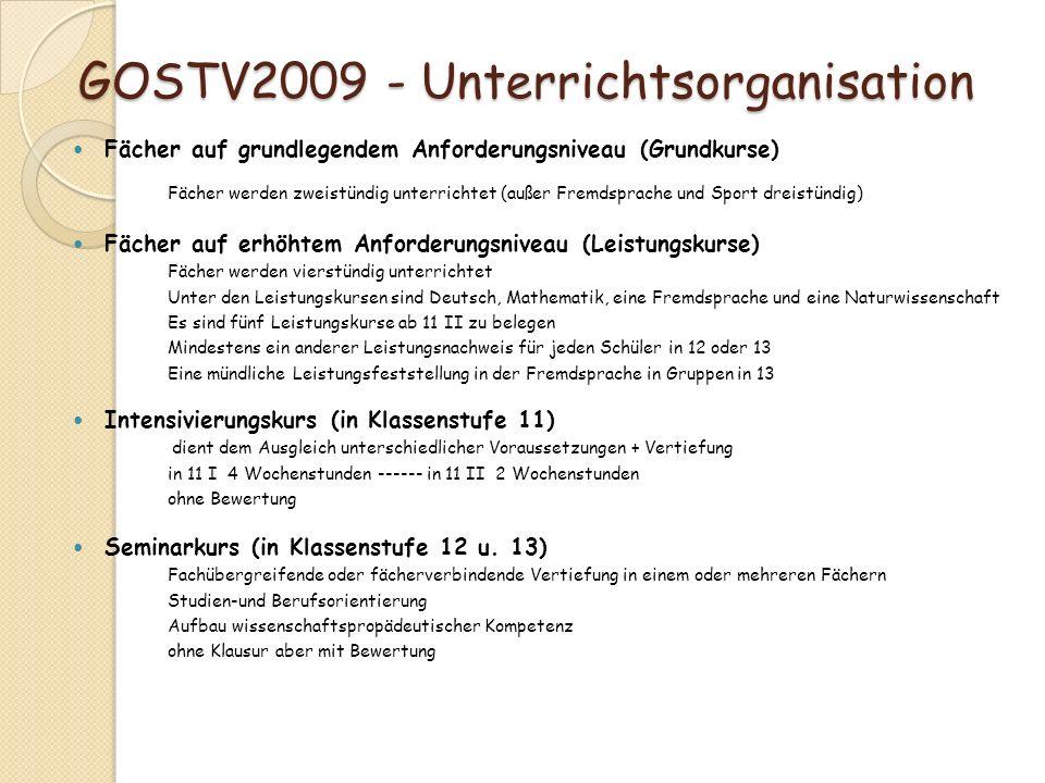 GOSTV2009 - Unterrichtsorganisation