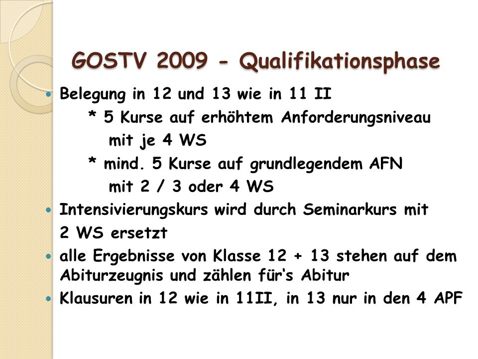 GOSTV 2009 - Qualifikationsphase