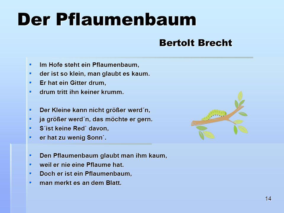 Der Pflaumenbaum Bertolt Brecht