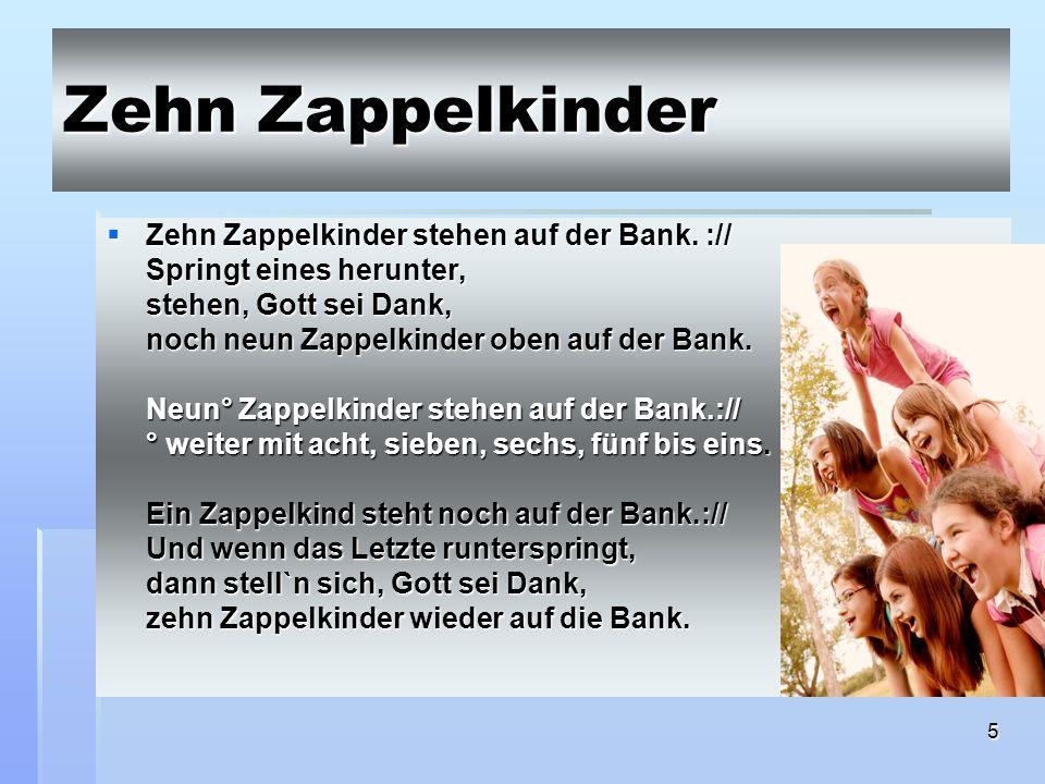 Zehn Zappelkinder Zehn Zappelkinder stehen auf der Bank. ://