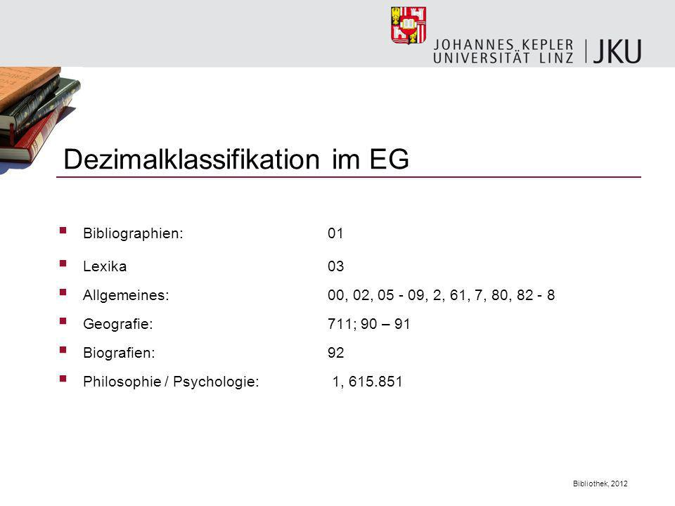 Dezimalklassifikation im EG