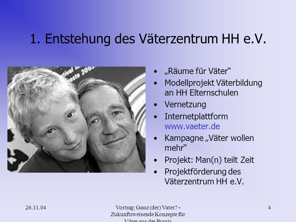 1. Entstehung des Väterzentrum HH e.V.