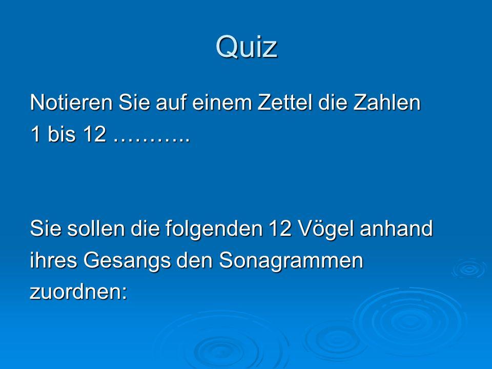 Quiz Notieren Sie auf einem Zettel die Zahlen 1 bis 12 ………..