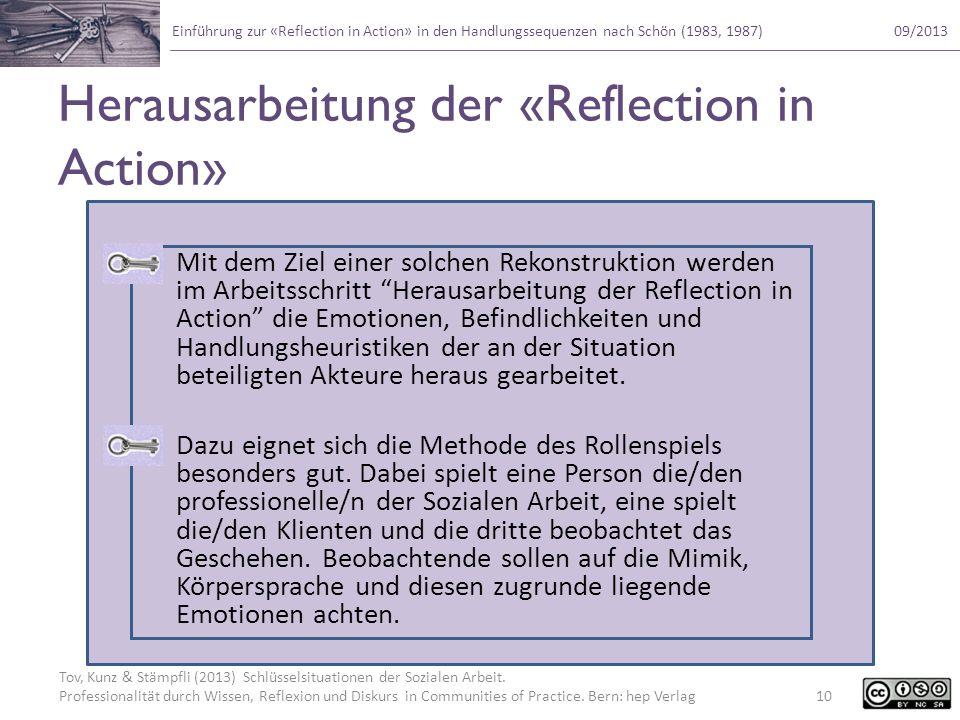 Herausarbeitung der «Reflection in Action»