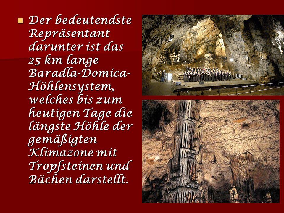 Der bedeutendste Repräsentant darunter ist das 25 km lange Baradla-Domica-Höhlensystem, welches bis zum heutigen Tage die längste Höhle der gemäßigten Klimazone mit Tropfsteinen und Bächen darstellt.