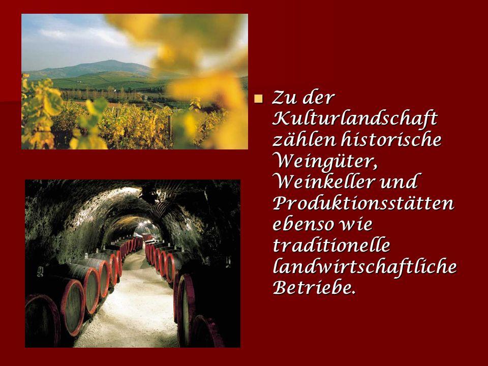 Zu der Kulturlandschaft zählen historische Weingüter, Weinkeller und Produktionsstätten ebenso wie traditionelle landwirtschaftliche Betriebe.