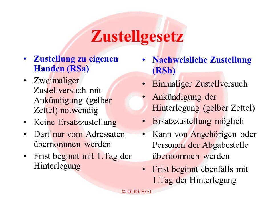 Zustellgesetz Zustellung zu eigenen Handen (RSa)