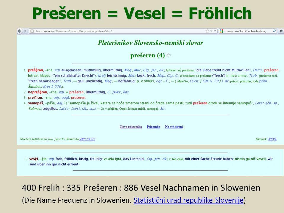 Prešeren = Vesel = Fröhlich