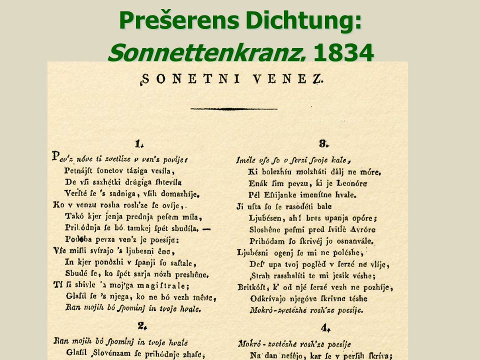 Prešerens Dichtung: Sonnettenkranz, 1834