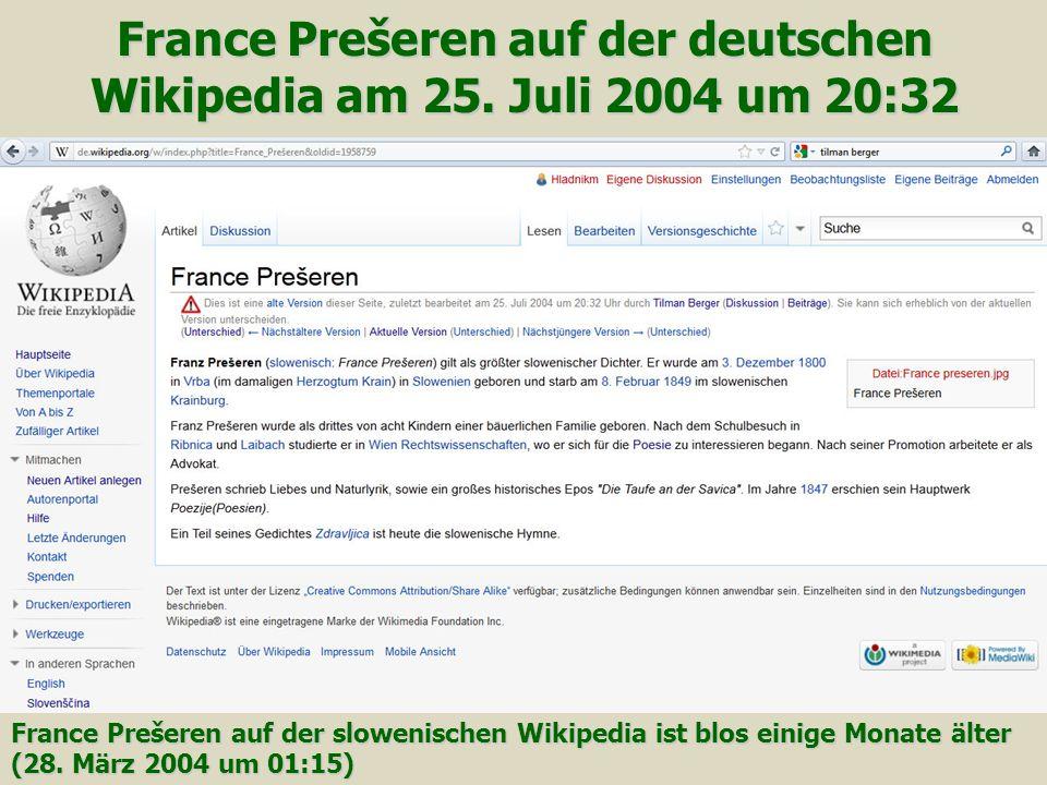 France Prešeren auf der deutschen Wikipedia am 25. Juli 2004 um 20:32