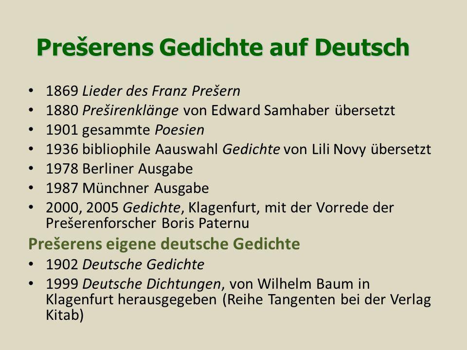 Prešerens Gedichte auf Deutsch