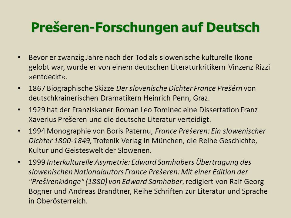 Prešeren-Forschungen auf Deutsch