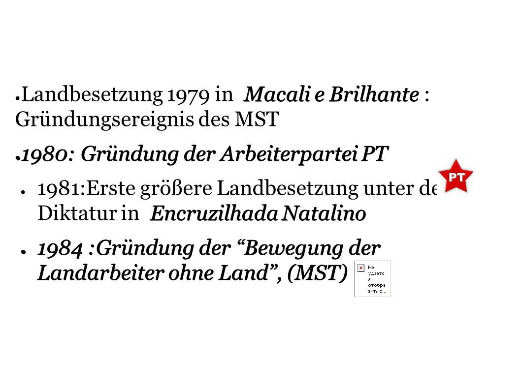 Landbesetzung 1979 in Macali e Brilhante : Gründungsereignis des MST