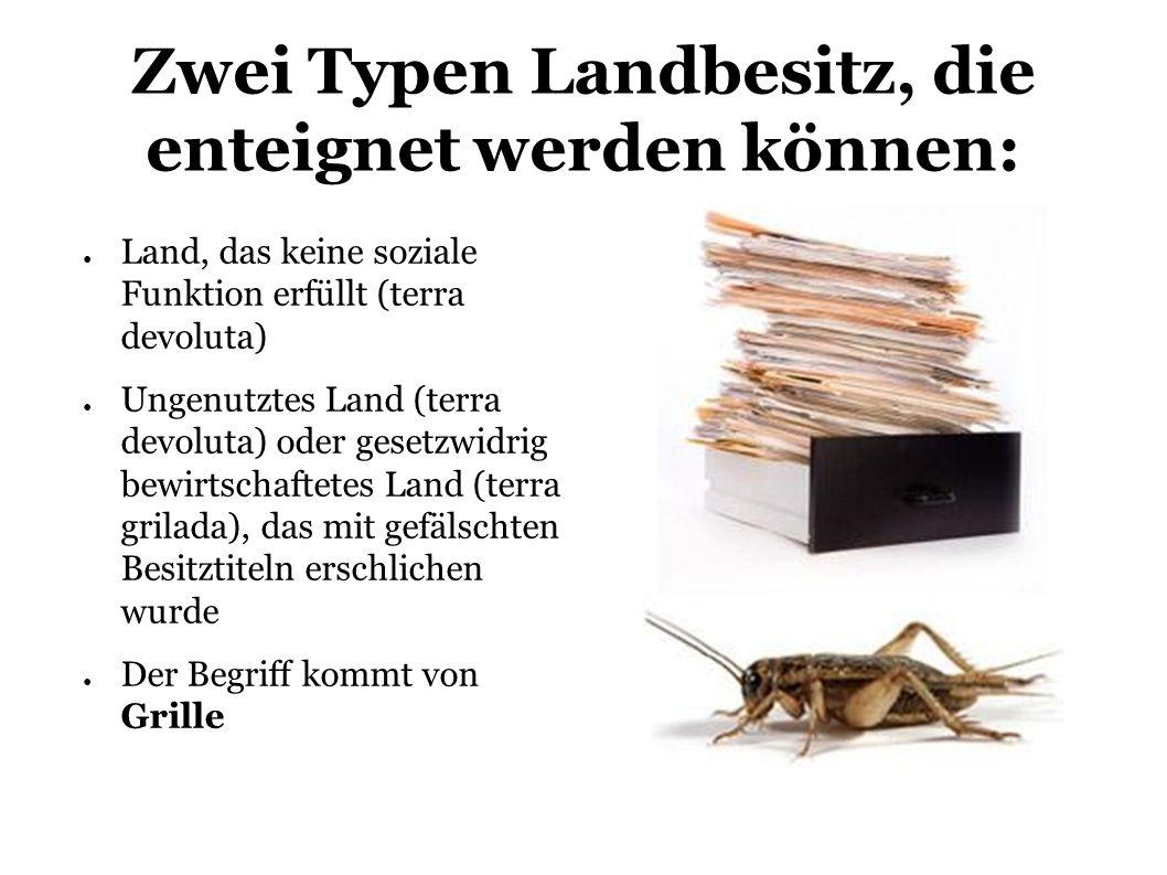 Zwei Typen Landbesitz, die enteignet werden können: