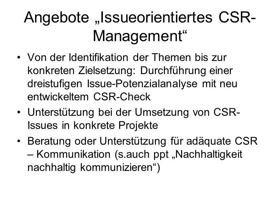 "Angebote ""Issueorientiertes CSR-Management"