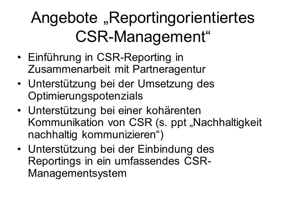 """Angebote """"Reportingorientiertes CSR-Management"""