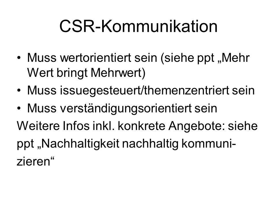 """CSR-Kommunikation Muss wertorientiert sein (siehe ppt """"Mehr Wert bringt Mehrwert) Muss issuegesteuert/themenzentriert sein."""