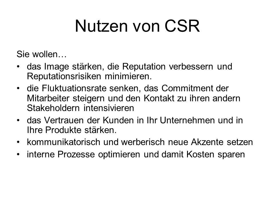 Nutzen von CSR Sie wollen…