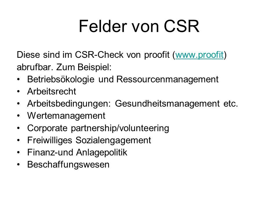 Felder von CSR Diese sind im CSR-Check von proofit (www.proofit)