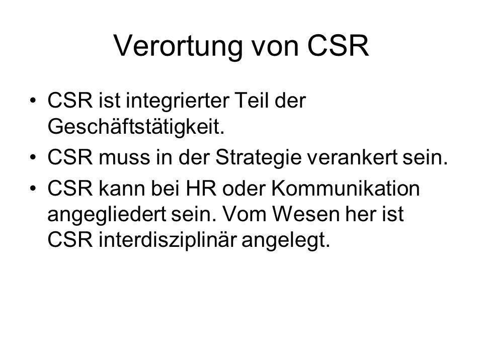 Verortung von CSR CSR ist integrierter Teil der Geschäftstätigkeit.
