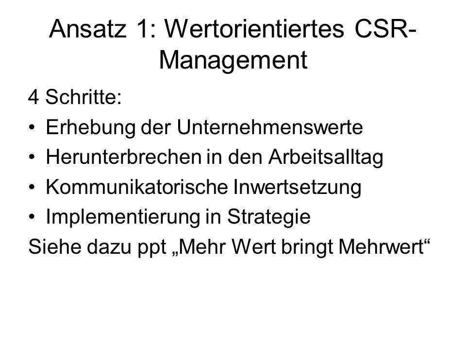 Ansatz 1: Wertorientiertes CSR-Management