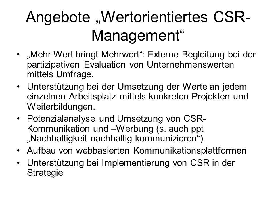 """Angebote """"Wertorientiertes CSR-Management"""