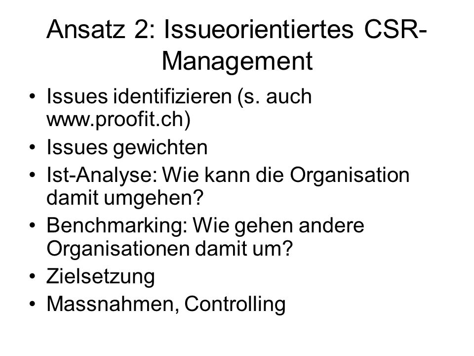 Ansatz 2: Issueorientiertes CSR-Management